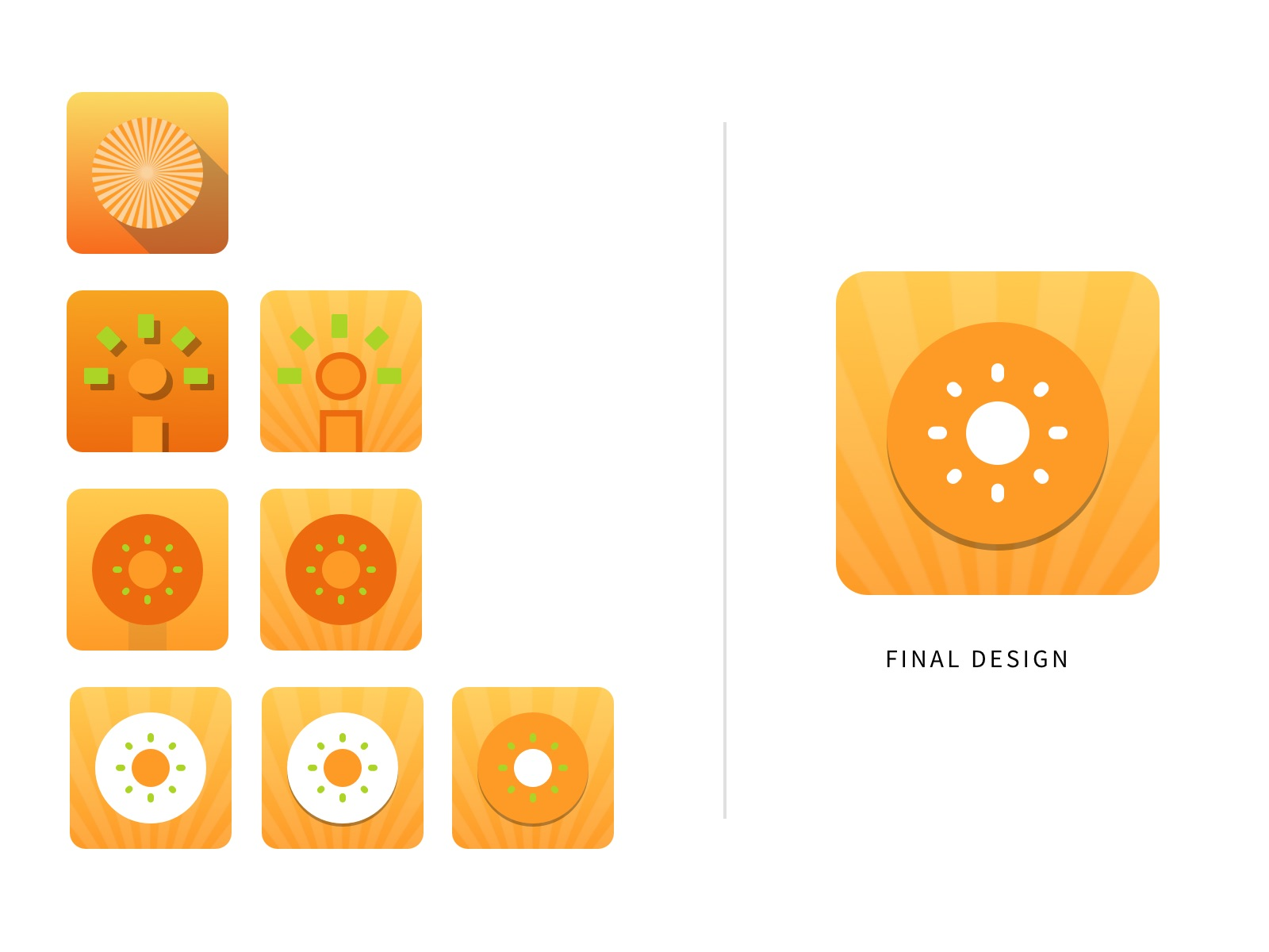 Variations of the Fuzzies icon, before selecting a final.