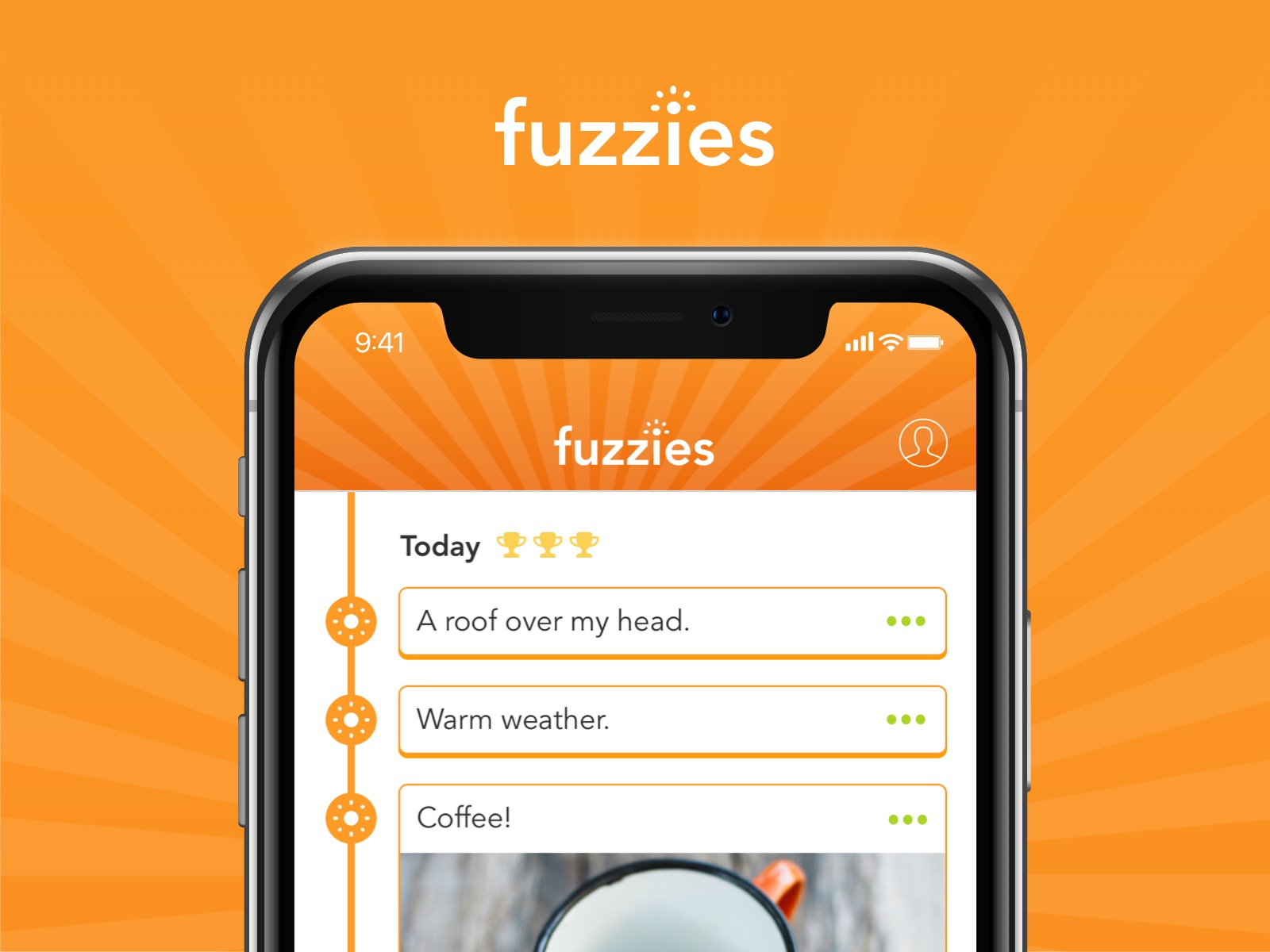 Fuzzies logo and app screenshot.
