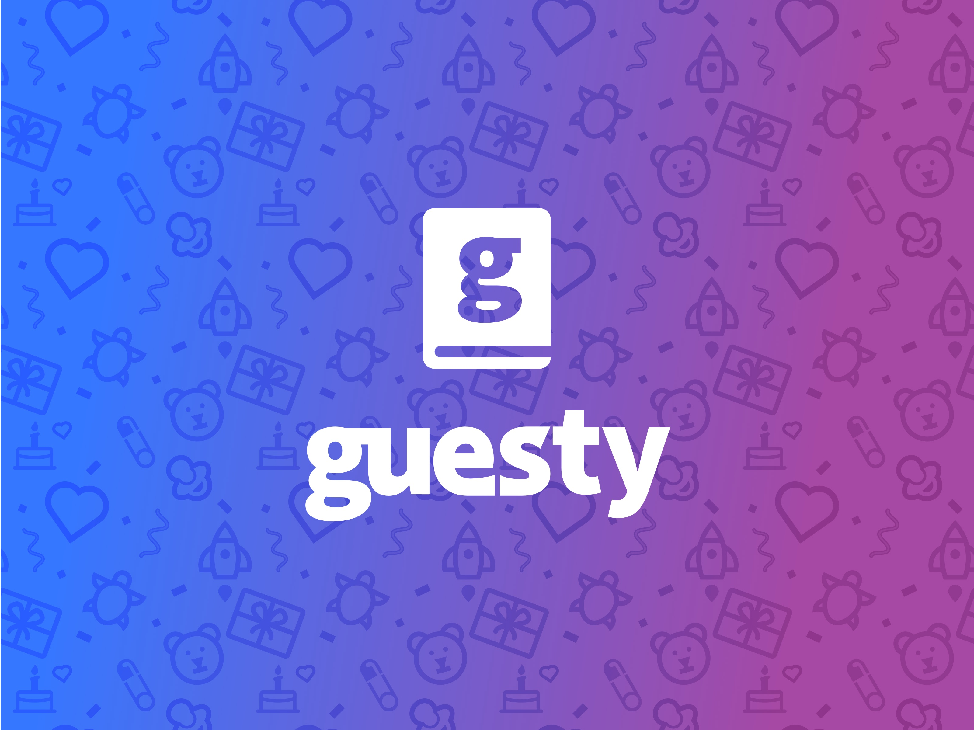 Guesty brand with gradient patterned background.