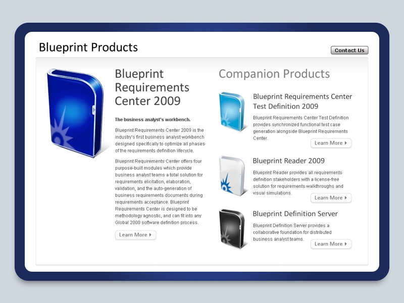 Blueprint RC2009 website screenshot.