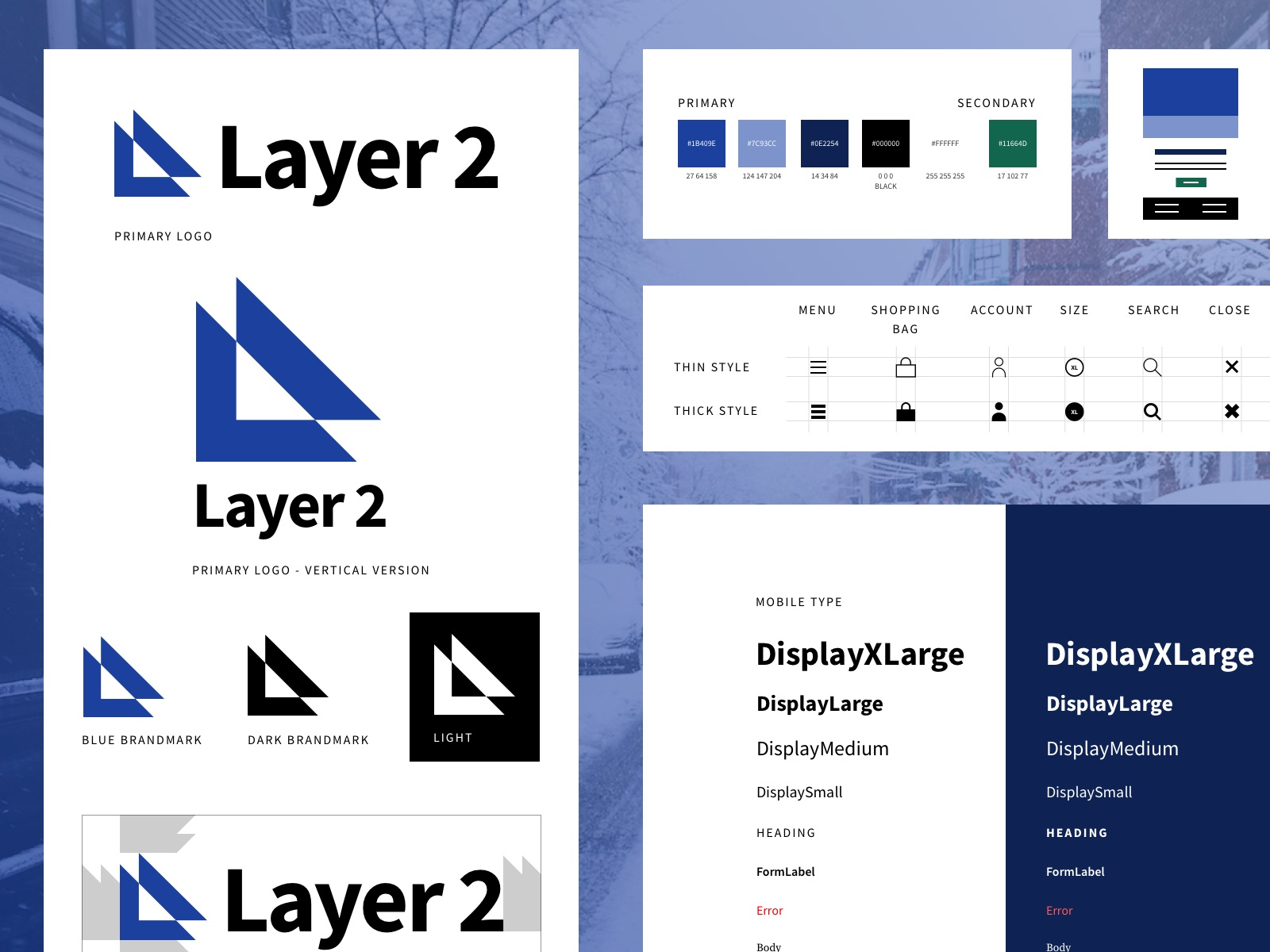 Layer2 Style Guide pieces including: logo, type, and iconography.