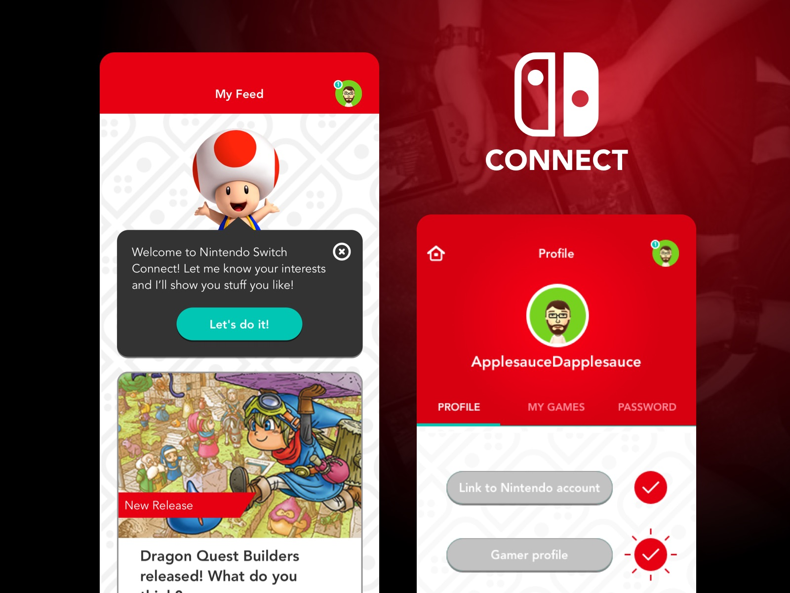 News Feed for a social app concept for fans of the Nintendo Switch.