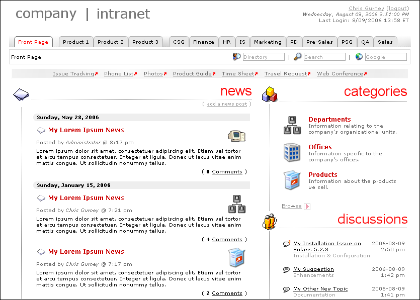 Xenos Intranet screenshot.